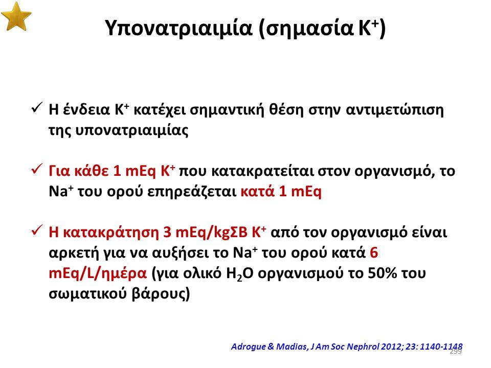 298 Θεραπεία υπονατριαιμίας (χορήγηση καλίου) Προσοχή!!! Η χορήγηση Κ + σε υπονατριαιμικούς αποτελεί παράγοντα κινδύνου για την εμφάνιση ωσμωτικής απο