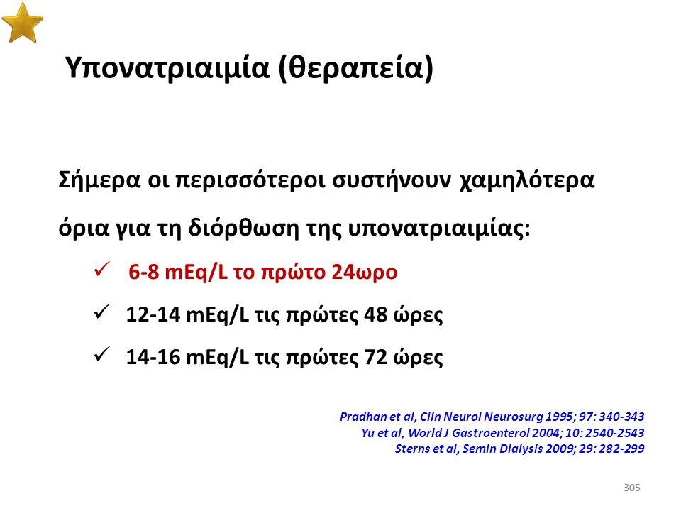 304 Υπονατριαιμία (προτάσεις για την σωστή διόρθωση του Na + ) ΕρευνητήςΜεταβολή Na + /24ωρο Μεταβολή Na + /48ωρο Sterns1218 Ellis10 Karp1024 Karp et