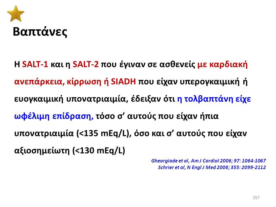316 Βαπτάνες Βαπτάνες:Συνδεόμενες με τους V 2 υποδοχείς αναστέλλουν τη δράση της ADH, με αποτέλεσμα τη μείωση της ΩΠ των ούρων, την υδατο-διούρηση (απ