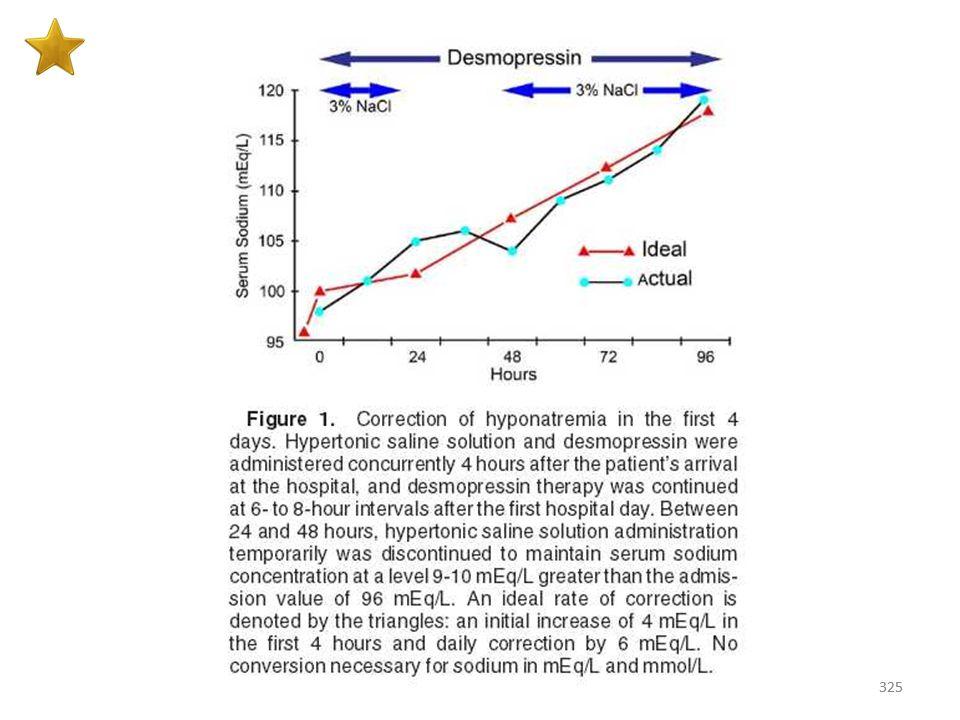 324 Θεραπεία υπονατριαιμίας (ασθενούς με επιρρέπεια σε μυελινόλυση) Σε ασθενείς με βαριά συμπτωματική υπονατριαιμία ο συνδυασμός NaCI 3% με δεσμοπρεσσ