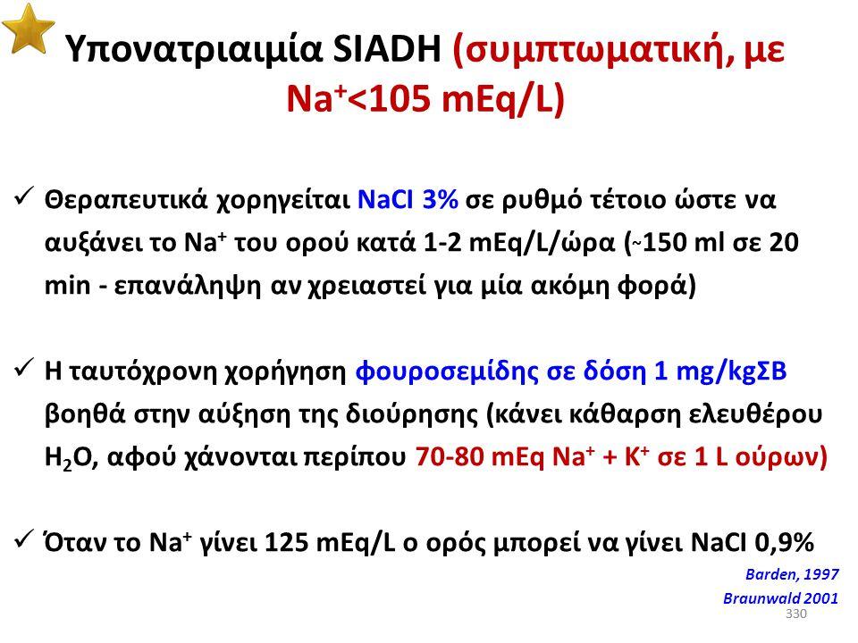 329 Όταν η ΩΠ ούρων είναι μικρότερη από την ΩΠ πλάσματος, τα ούρα είναι υπότονα και υπάρχει κάθαρση ελευθέρου Η 2 Ο 329
