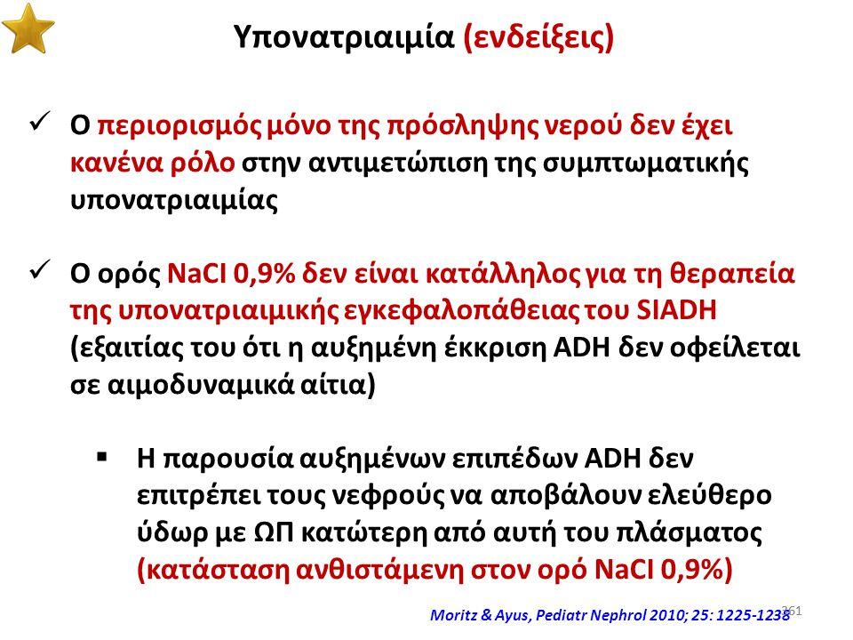 360 Υπονατριαιμία (παρανοήσεις) Και ο ορός NaCI 0,9% σχετίζεται με υπερδιόρθωση της υπονατριαιμίας NEJM 1997; 317: 1190-1195 360