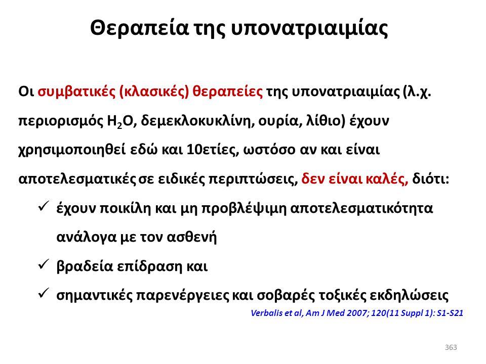 362 Υπονατριαιμία (βαπτάνες και εγκεφαλοπάθεια) Οι βαπτάνες δεν πρέπει να χρησιμοποιούνται μόνες τους για τη θεραπεία της υπονατριαιμικής εγκεφαλοπάθε