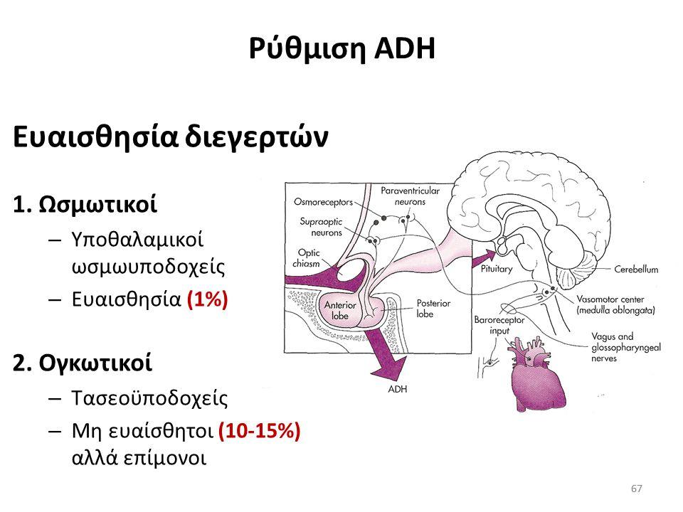 66 Έκκριση ADH Η έκκριση της ADH μπορεί να συμβεί εξαιτίας διέγερσης: Των ωσμωυποδοχέων του υποθαλάμου (αύξηση ωσμωτικής πίεσης του πλάσματος) Των τασ