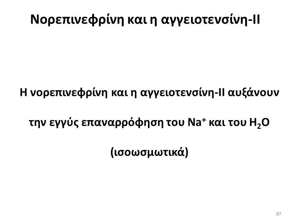 86 «Το Η 2 Ο ακολουθεί το Na + » Αυξημένα επίπεδα αλδοστερόνης πλάσματος Κάνουν τους νεφρούς να επαναρροφούν NaCI Επαναρρόφηση Na + από τη δράση της α