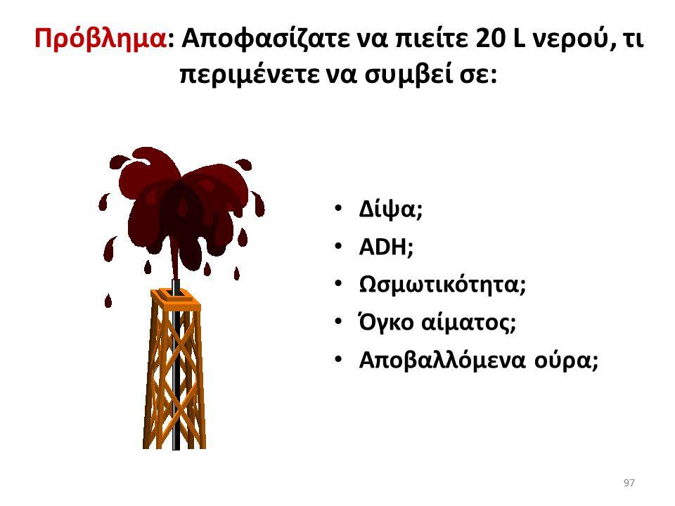 96 Απάντηση Δίψα ADH Ωσμωτικότητα ορού Αλδοστερόνη Αποβαλλόμενα ούρα Επίταση, λόγω αύξησης της ΩΠ πλάσματος Αύξηση έκκρισης, λόγω αύξησης της ΩΠ πλάσμ