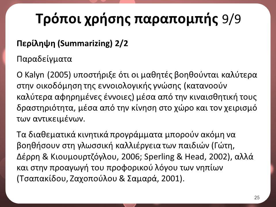 Τρόποι χρήσης παραπομπής 9/9 Περίληψη (Summarizing) 2/2 Παραδείγματα Ο Kalyn (2005) υποστήριξε ότι οι μαθητές βοηθούνται καλύτερα στην οικοδόμηση της εννοιολογικής γνώσης (κατανοούν καλύτερα αφηρημένες έννοιες) μέσα από την κιναισθητική τους δραστηριότητα, μέσα από την κίνηση στο χώρο και τον χειρισμό των αντικειμένων.