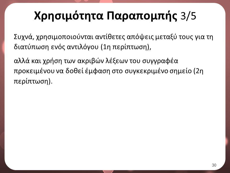 Χρησιμότητα Παραπομπής 3/5 Συχνά, χρησιμοποιούνται αντίθετες απόψεις μεταξύ τους για τη διατύπωση ενός αντιλόγου (1η περίπτωση), αλλά και χρήση των ακριβών λέξεων του συγγραφέα προκειμένου να δοθεί έμφαση στο συγκεκριμένο σημείο (2η περίπτωση).