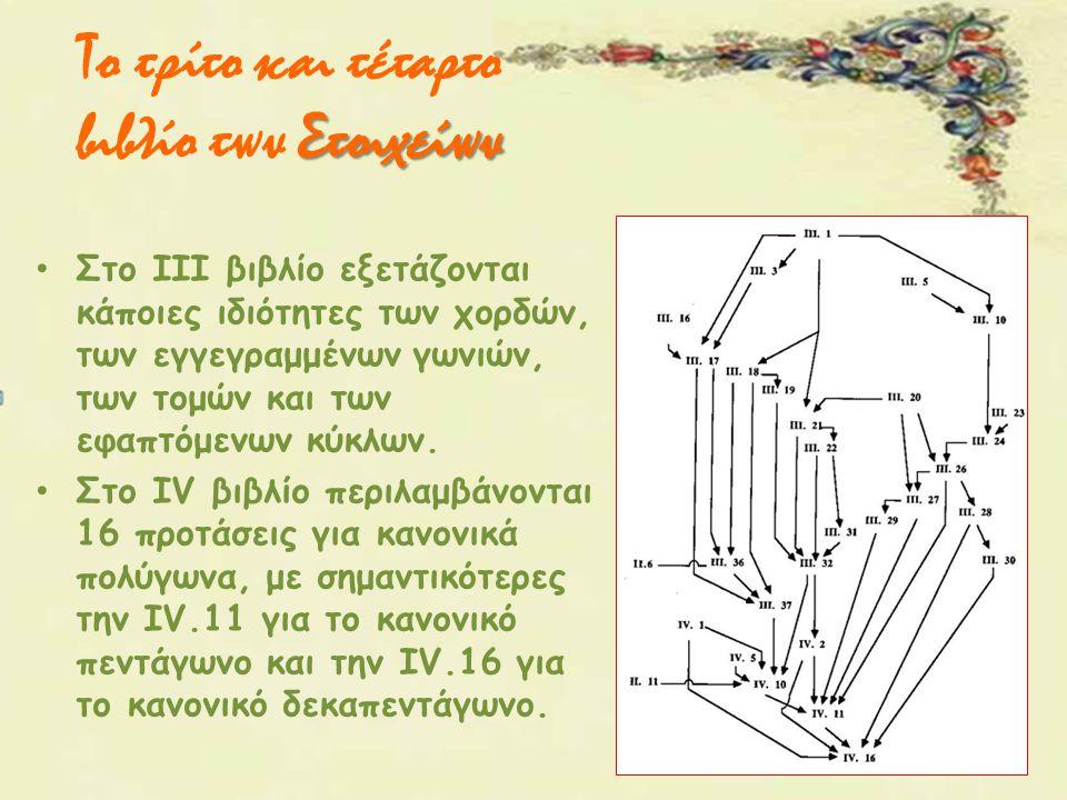 Στοιχείων Το τρίτο και τέταρτο βιβλίο των Στοιχείων Στο ΙΙΙ βιβλίο εξετάζονται κάποιες ιδιότητες των χορδών, των εγγεγραμμένων γωνιών, των τομών και τ