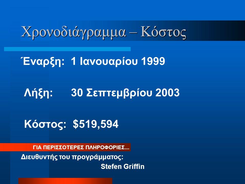 Χρονοδιάγραμμα – Κόστος Έναρξη: 1 Ιανουαρίου 1999 Λήξη: 30 Σεπτεμβρίου 2003 Κόστος: $519,594 ΓΙΑ ΠΕΡΙΣΣΟΤΕΡΕΣ ΠΛΗΡΟΦΟΡΙΕΣ...