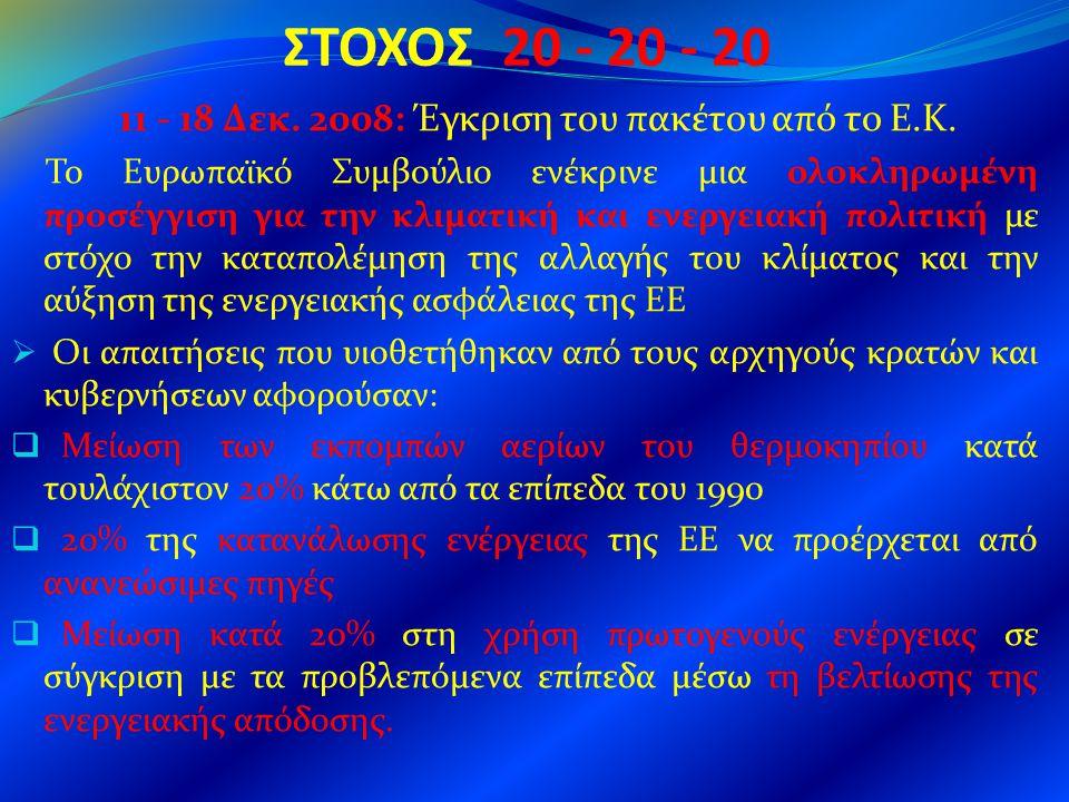 ΣΤΟΧΟΣ 20 - 20 - 20 11 - 18 Δεκ. 2008: Έγκριση του πακέτου από το Ε.Κ. Το Ευρωπαϊκό Συμβούλιο ενέκρινε μια ολοκληρωμένη προσέγγιση για την κλιματική κ