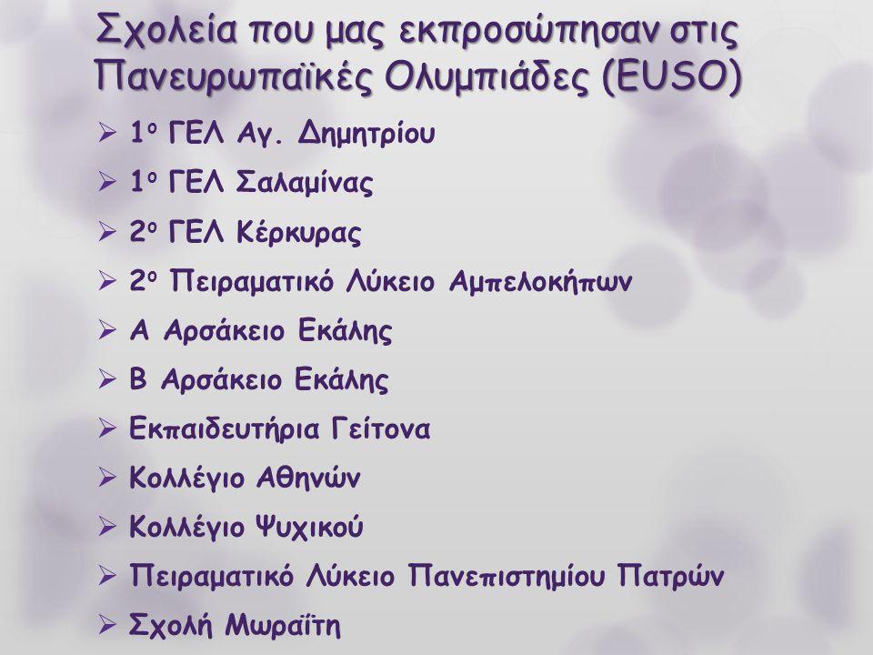 Σχολεία που μας εκπροσώπησαν στις Πανευρωπαϊκές Ολυμπιάδες (EUSO)  1 ο ΓΕΛ Αγ. Δημητρίου  1 ο ΓΕΛ Σαλαμίνας  2 ο ΓΕΛ Κέρκυρας  2 ο Πειραματικό Λύκ