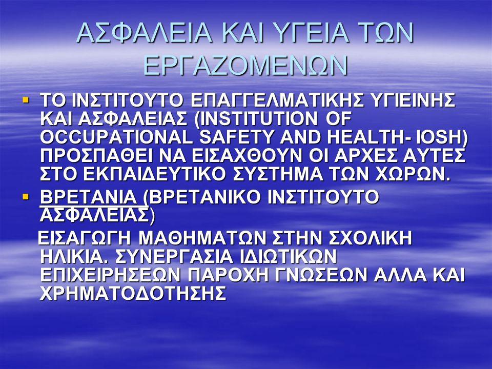 ΑΣΦΑΛΕΙΑ ΚΑΙ ΥΓΕΙΑ ΤΩΝ ΕΡΓΑΖΟΜΕΝΩΝ  ΓΕΡΜΑΝΙΑ ΠΡΟΣΧΟΛΙΚΗ ΗΛΙΚΙΑ ΕΠΑΦΗ ΜΕ ΤΟ ΕΠΙΚΥΝΔΥΝΟ ΩΣ ΕΛΕΓΧΟΜΕΝΗ ΕΠΑΦΗ (Π.Χ ΠΑΡΑΜΥΘΙ ΔΡΑΚΟΣ ΦΩΤΙΑ)  ΙΤΑΛΙΑ ΜΕΤΑ ΤΑ 7 ΕΤΗ ΩΣ ΜΑΘΗΜΑ  ΙΣΠΑΝΙΑ ΠΑΝΕΠΙΣΤΗΜΙΟ  ΚΥΠΡΟΣ!!.