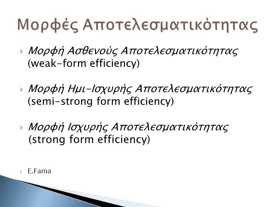  Μορφή Ασθενούς Αποτελεσματικότητας (weak-form efficiency)  Μορφή Ημι-Ισχυρής Αποτελεσματικότητας (semi-strong form efficiency)  Μορφή Ισχυρής Αποτελεσματικότητας (strong form efficiency)  E.Fama