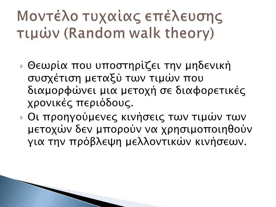  Θεωρία που υποστηρίζει την μηδενική συσχέτιση μεταξύ των τιμών που διαμορφώνει μια μετοχή σε διαφορετικές χρονικές περιόδους.