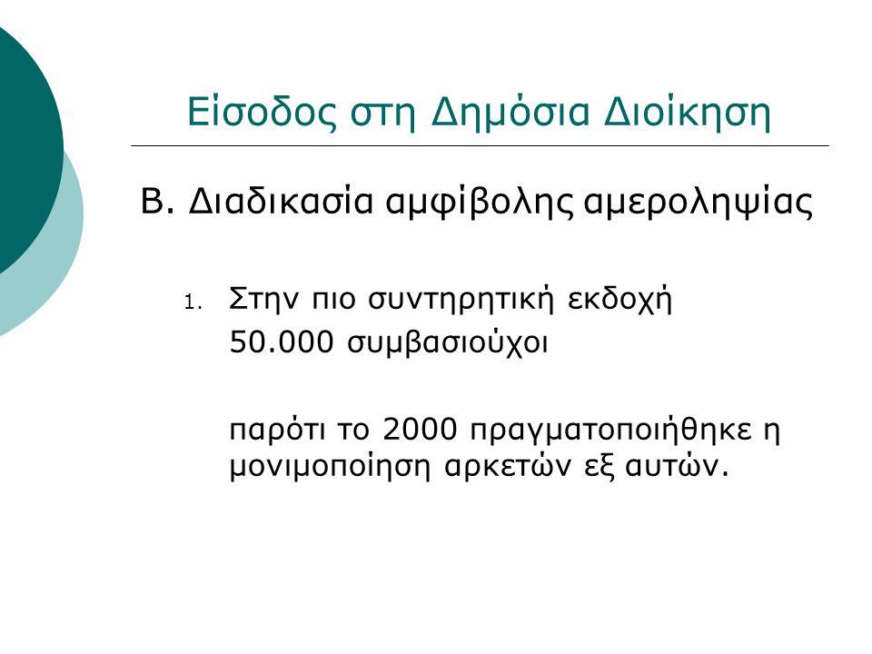 Είσοδος στη Δημόσια Διοίκηση Β. Διαδικασία αμφίβολης αμεροληψίας 1. Στην πιο συντηρητική εκδοχή 50.000 συμβασιούχοι παρότι το 2000 πραγματοποιήθηκε η