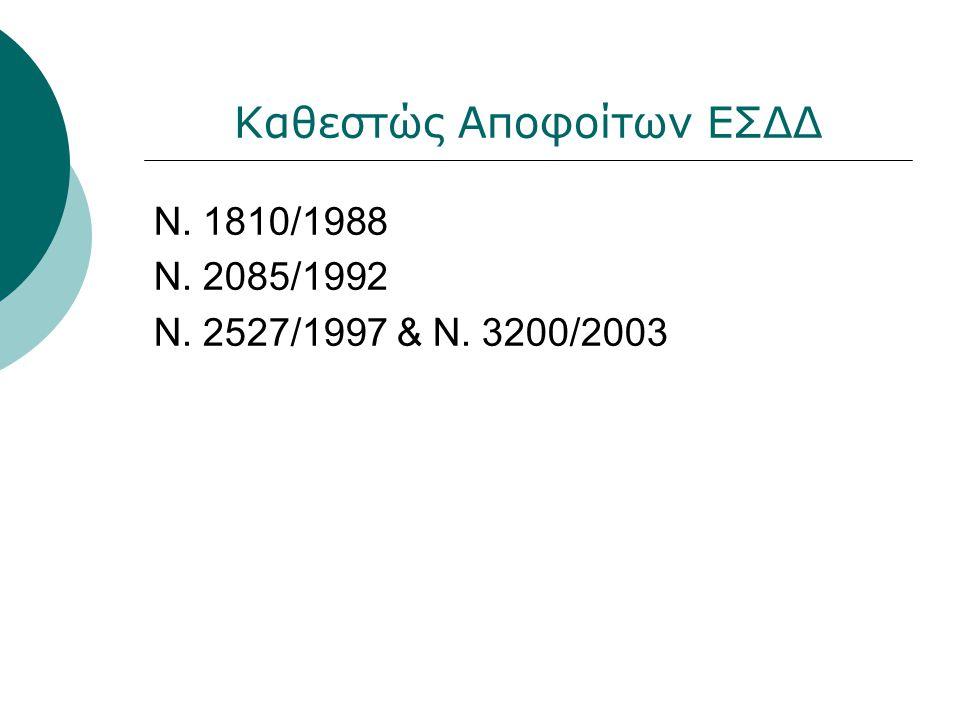 Καθεστώς Αποφοίτων ΕΣΔΔ Ν. 1810/1988 Ν. 2085/1992 Ν. 2527/1997 & Ν. 3200/2003