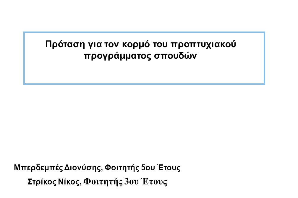 Διονύσης & Νίκος1 Πρόταση για τον κορμό του προπτυχιακού προγράμματος σπουδών Πρόταση για τον κορμό του προπτυχιακού προγράμματος σπουδών Μπερδεμπές Διονύσης, Φοιτητής 5ου Έτους Στρίκος Νίκος, Φοιτητής 3ου Έτους