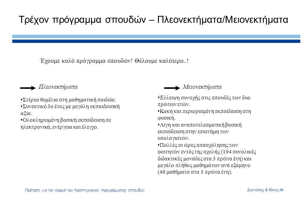 Διονύσης & Νίκος4 Πρόταση για τον κορμό του προπτυχιακού προγράμματος σπουδών Τρέχον πρόγραμμα σπουδών – Πλεονεκτήματα/Μειονεκτήματα Έχουμε καλό πρόγραμμα σπουδών.