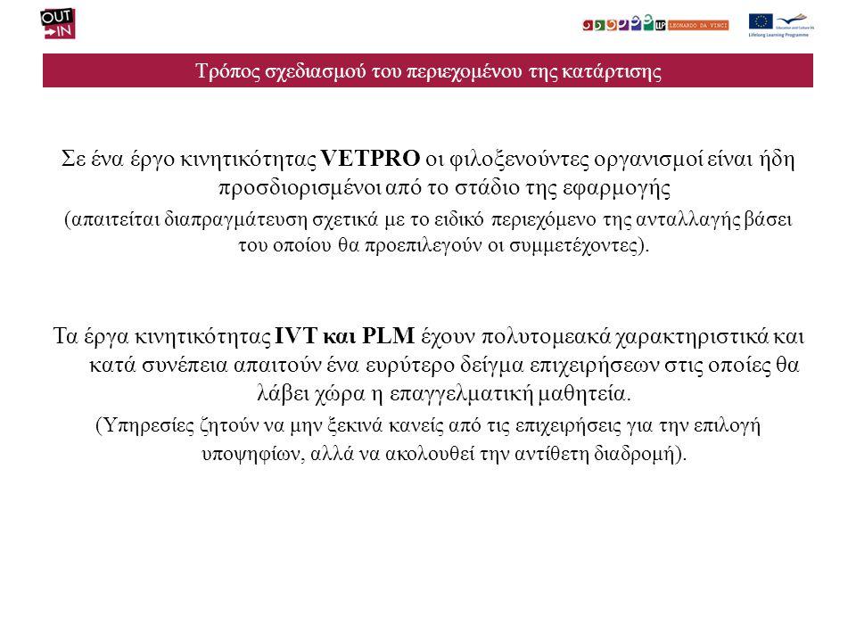 Τρόπος σχεδιασμού του περιεχομένου της κατάρτισης Σε ένα έργο κινητικότητας VETPRO οι φιλοξενούντες οργανισμοί είναι ήδη προσδιορισμένοι από το στάδιο της εφαρμογής (απαιτείται διαπραγμάτευση σχετικά με το ειδικό περιεχόμενο της ανταλλαγής βάσει του οποίου θα προεπιλεγούν οι συμμετέχοντες).