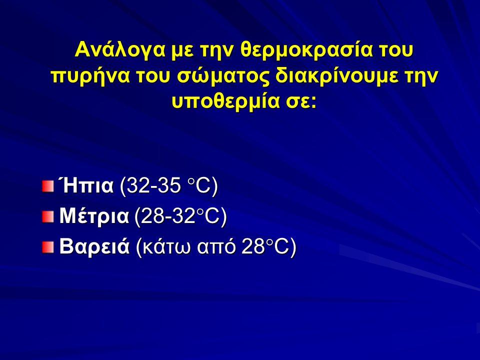 Ανάλογα με την θερμοκρασία του πυρήνα του σώματος διακρίνουμε την υποθερμία σε: Ήπια (32-35  C) Μέτρια (28-32  C) Βαρειά (κάτω από 28  C)