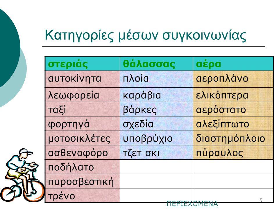 4 Μέσα συγκοινωνίας για ταξίδια και μεταφορές www.daskalos.edu.gr ΠΕΡΙΕΧΟΜΕΝΑ