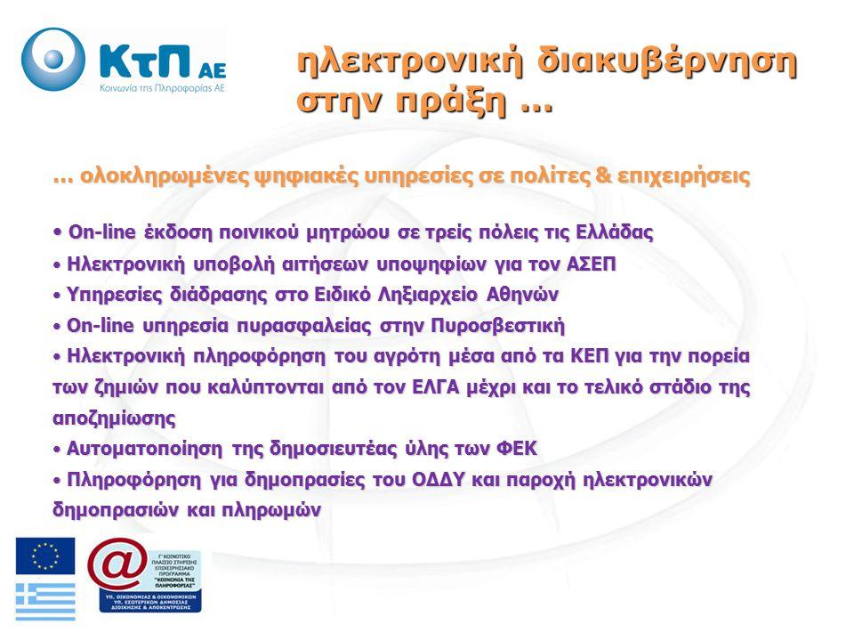 … ψηφιακές υπηρεσίες σε πολίτες & επιχειρήσεις που ολοκληρώνονται στο προσεχές διάστημα Υπηρεσίες διάδρασης στην Ελληνική Αστυνομία (δηλώσεις εμφανισθέντων ατόμων, δηλώσεις κλοπών, έκδοση προσωρινών ταυτοτήτων, κ.ά.) Υπηρεσίες διάδρασης στην Ελληνική Αστυνομία (δηλώσεις εμφανισθέντων ατόμων, δηλώσεις κλοπών, έκδοση προσωρινών ταυτοτήτων, κ.ά.) Υπηρεσίες Φορολογίας (αλλαγή προσωπικών στοιχείων στο Μητρώο, στοιχεία Ακινήτων, Καταστάσεις ΚΒΣ, Ηλεκτρονική υποβολή πολλαπλών δηλώσεων, κ.ά.) Υπηρεσίες Φορολογίας (αλλαγή προσωπικών στοιχείων στο Μητρώο, στοιχεία Ακινήτων, Καταστάσεις ΚΒΣ, Ηλεκτρονική υποβολή πολλαπλών δηλώσεων, κ.ά.) Ηλεκτρονική υποβολή αιτημάτων και παρακολούθηση της εξέλιξής τους για πολεοδομικά θέματα Ηλεκτρονική υποβολή αιτημάτων και παρακολούθηση της εξέλιξής τους για πολεοδομικά θέματα Ηλεκτρονική υποβολή του Μηχανογραφικού Δελτίου Υποψηφίων στα ΑΕΙ και ΤΕΙ Ηλεκτρονική υποβολή του Μηχανογραφικού Δελτίου Υποψηφίων στα ΑΕΙ και ΤΕΙ ηλεκτρονική διακυβέρνηση στην πράξη …