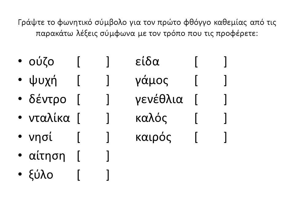 Γράψτε το φωνητικό σύμβολο για τον τελευταίο φθόγγο καθεμίας από τις παρακάτω λέξεις σύμφωνα με τον τρόπο που τις προφέρετε: είναι[]δίνη[] αφού[]δίνει[] πολύ[]καλό[] καλεί[]καλώ[] καλή[]κάθεται[] καλοί[] παππούς[]