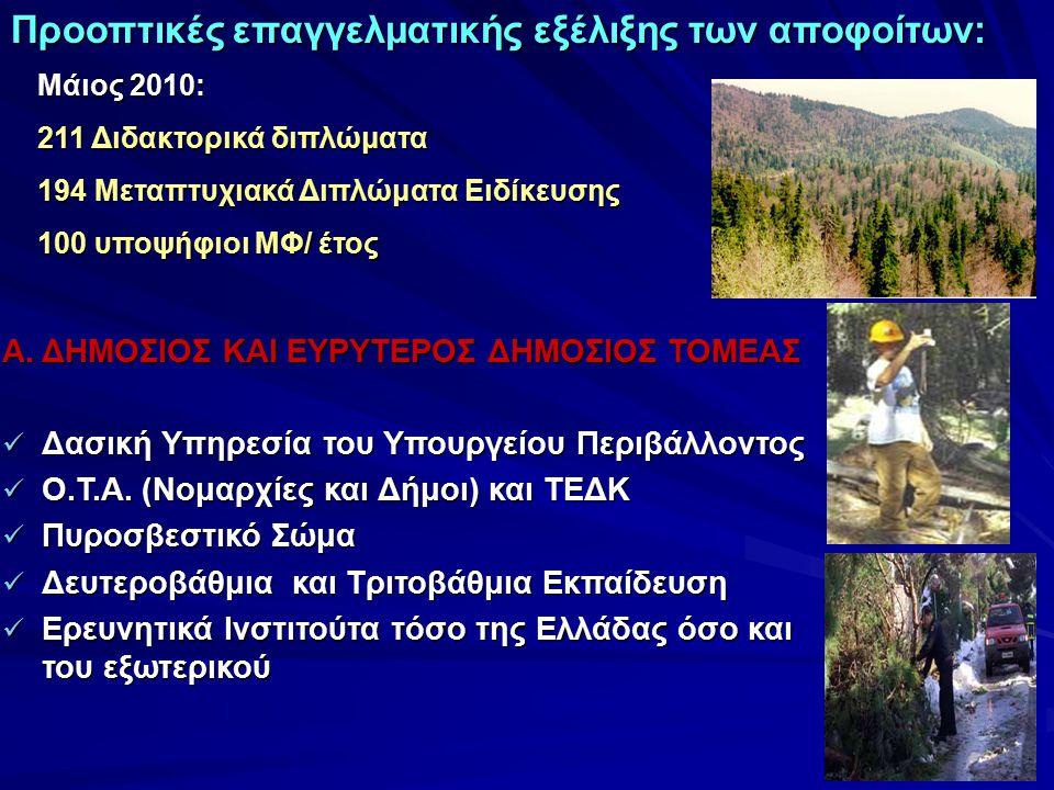 Α. ΔΗΜΟΣΙΟΣ ΚΑΙ ΕΥΡΥΤΕΡΟΣ ΔΗΜΟΣΙΟΣ ΤΟΜΕΑΣ Δασική Υπηρεσία του Υπουργείου Περιβάλλοντος Δασική Υπηρεσία του Υπουργείου Περιβάλλοντος Ο.Τ.Α. (Νομαρχίες