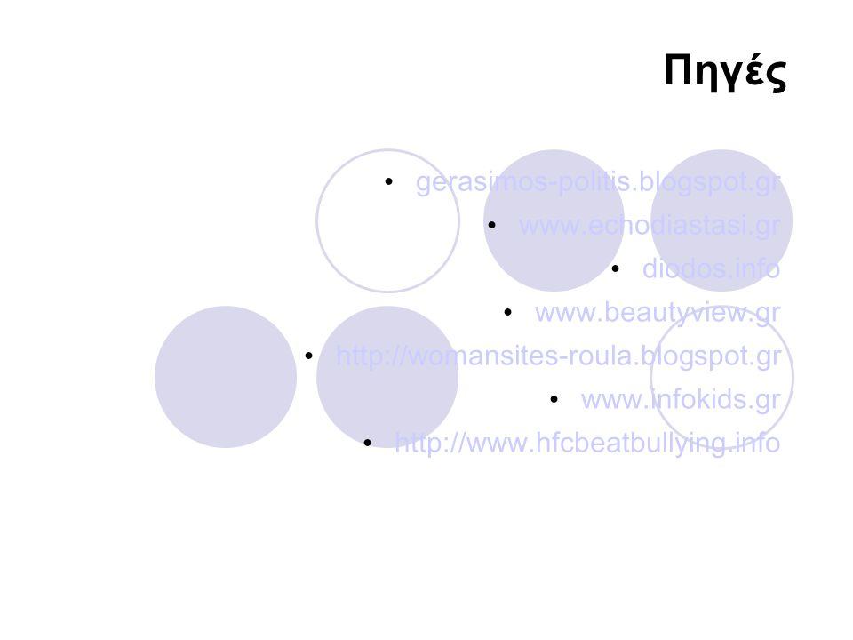 Πηγές gerasimos-politis.blogspot.gr www.echodiastasi.gr diodos.info www.beautyview.gr http://womansites-roula.blogspot.gr www.infokids.gr http://www.h