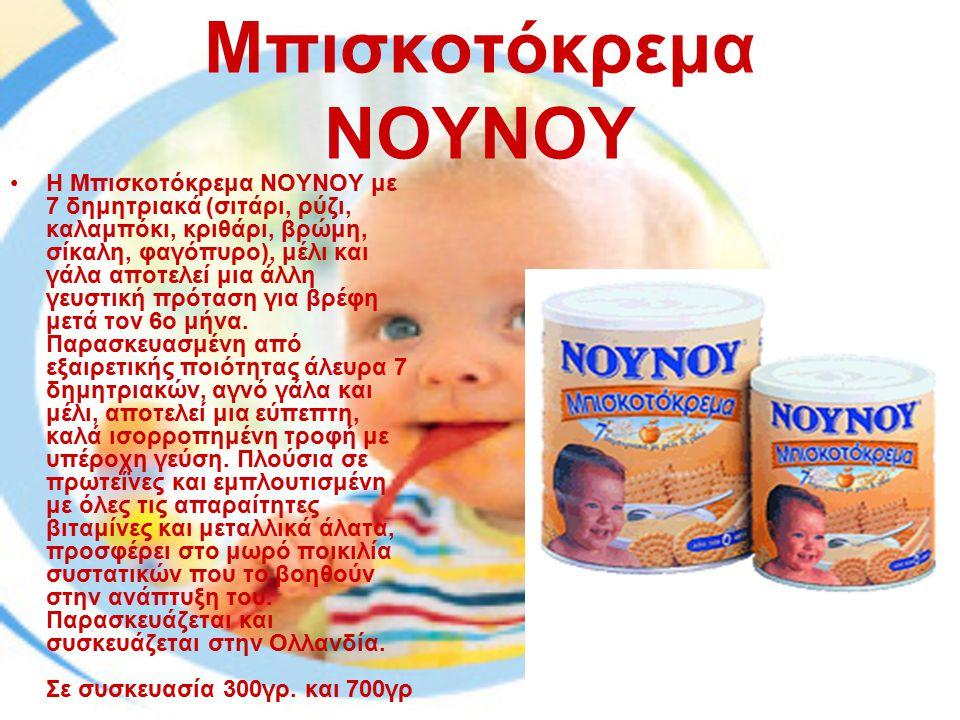 Μπισκοτόκρεμα ΝΟΥΝΟΥ Η Μπισκοτόκρεμα ΝΟΥΝΟΥ με 7 δημητριακά (σιτάρι, ρύζι, καλαμπόκι, κριθάρι, βρώμη, σίκαλη, φαγόπυρο), μέλι και γάλα αποτελεί μια άλ