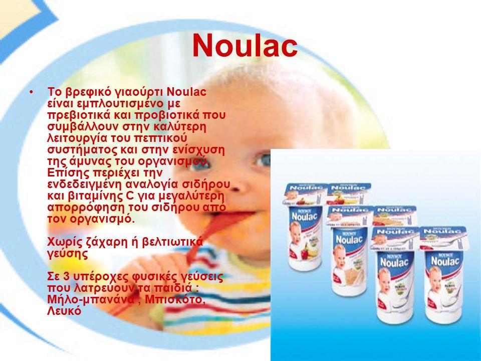 Noulac Το βρεφικό γιαούρτι Noulac είναι εμπλουτισμένο με πρεβιοτικά και προβιοτικά που συμβάλλουν στην καλύτερη λειτουργία του πεπτικού συστήματος και