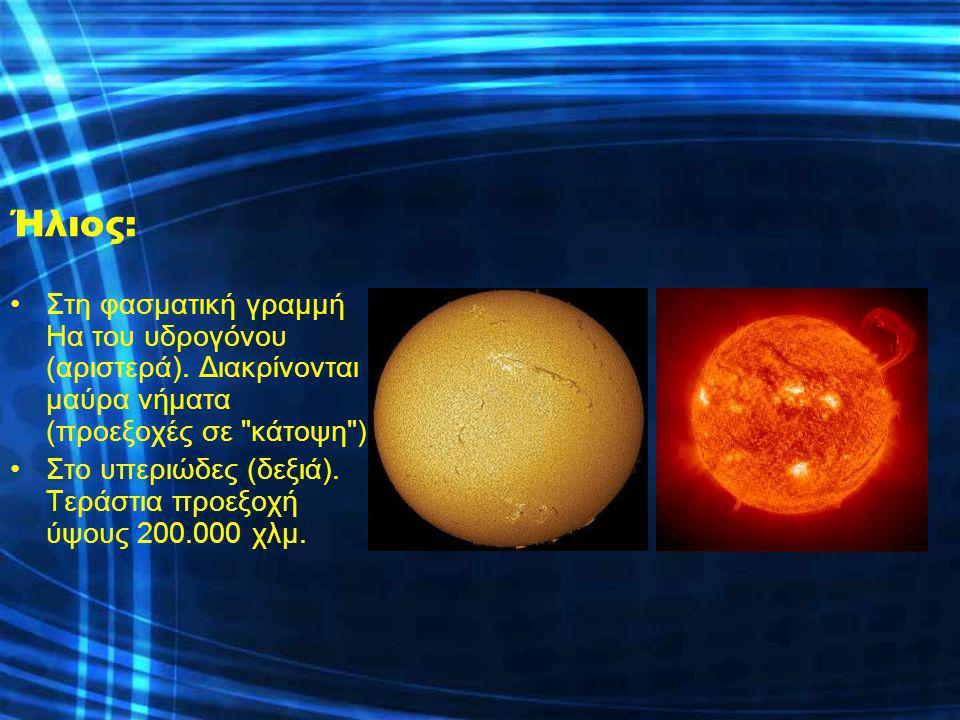 Ήλιος: Στη φασματική γραμμή Ηα του υδρογόνου (αριστερά). Διακρίνονται μαύρα νήματα (προεξοχές σε