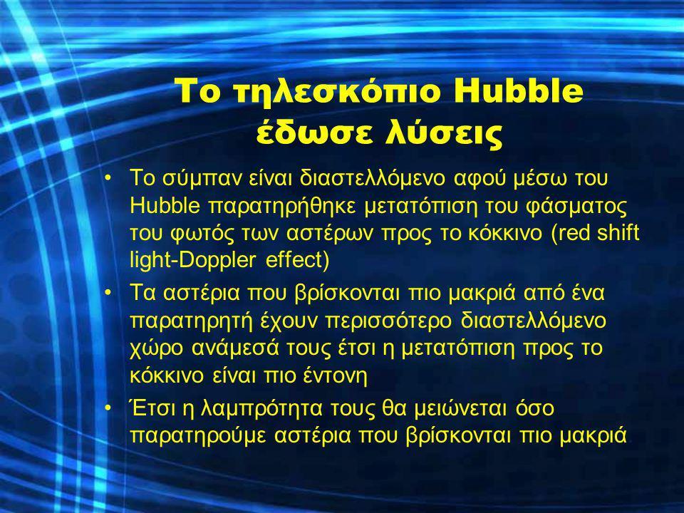 Το τηλεσκόπιο Hubble έδωσε λύσεις Το σύμπαν είναι διαστελλόμενο αφού μέσω του Hubble παρατηρήθηκε μετατόπιση του φάσματος του φωτός των αστέρων προς τ