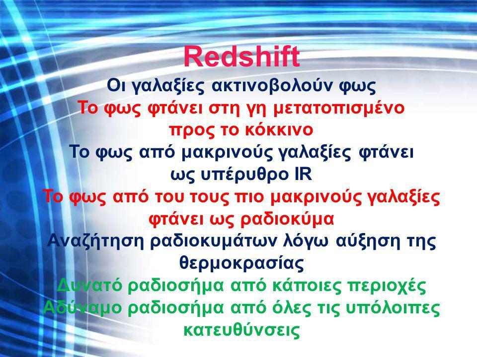 Redshift Οι γαλαξίες ακτινοβολούν φως Το φως φτάνει στη γη μετατοπισμένο προς το κόκκινο Το φως από μακρινούς γαλαξίες φτάνει ως υπέρυθρο IR Το φως απ