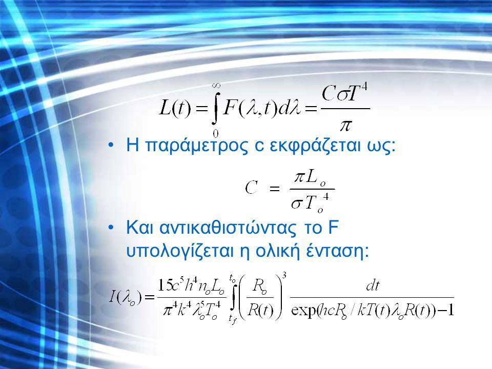 Η παράμετρος c εκφράζεται ως: Και αντικαθιστώντας το F υπολογίζεται η ολική ένταση: