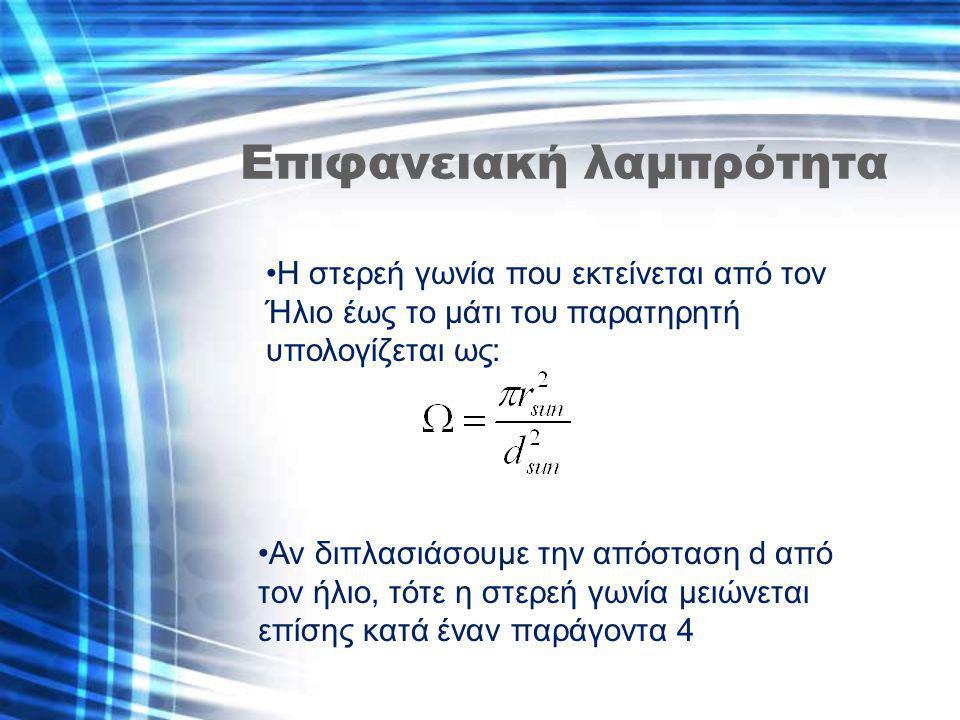 Επιφανειακή λαμπρότητα Η στερεή γωνία που εκτείνεται από τον Ήλιο έως το μάτι του παρατηρητή υπολογίζεται ως: Αν διπλασιάσουμε την απόσταση d από τον