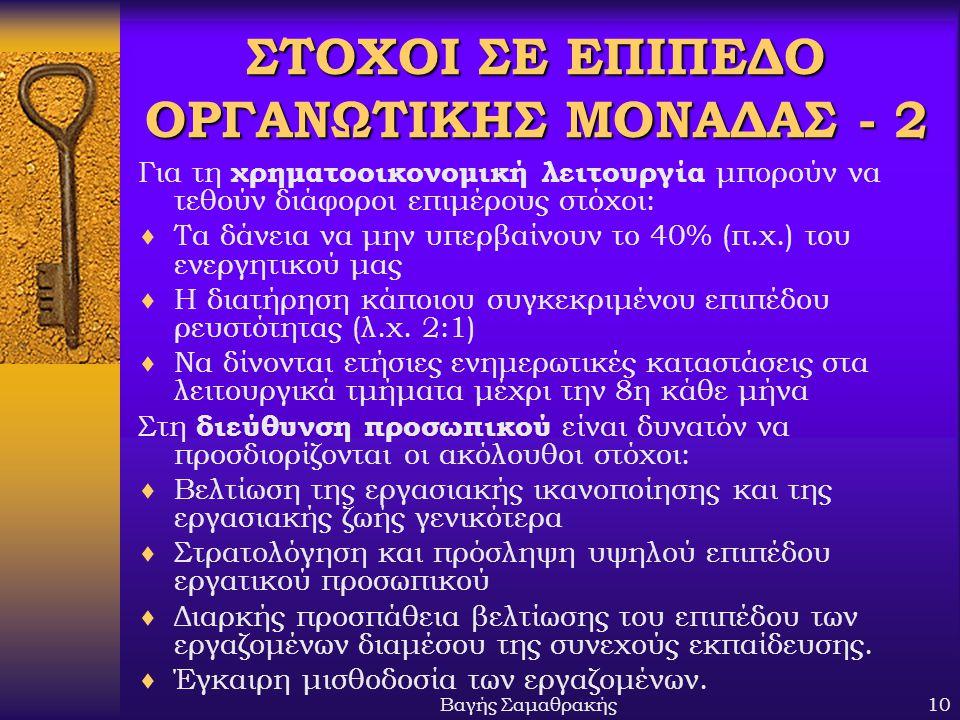 Βαγής Σαμαθρακής10 ΣΤΟΧΟΙ ΣΕ ΕΠΙΠΕΔΟ ΟΡΓΑΝΩΤΙΚΗΣ ΜΟΝΑΔΑΣ - 2 Για τη χρηματοοικονομική λειτουργία μπορούν να τεθούν διάφοροι επιμέρους στόχοι:  Τα δάν