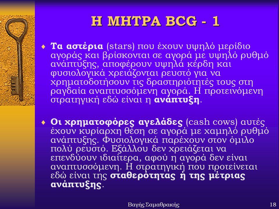 Βαγής Σαμαθρακής18 Η ΜΗΤΡΑ BCG - 1  Τα αστέρια (stars) που έχουν υψηλό μερίδιο αγοράς και βρίσκονται σε αγορά με υψηλό ρυθμό ανάπτυξης, αποφέρουν υψη