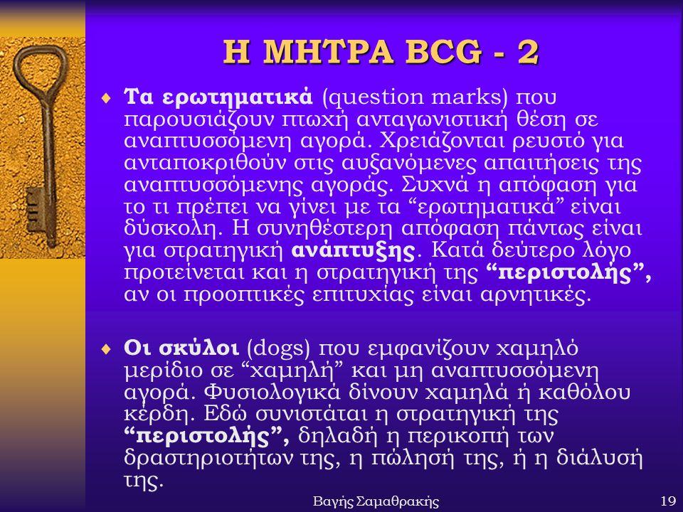 Βαγής Σαμαθρακής19 Η ΜΗΤΡΑ BCG - 2  Τα ερωτηματικά (question marks) που παρουσιάζουν πτωχή ανταγωνιστική θέση σε αναπτυσσόμενη αγορά. Χρειάζονται ρευ
