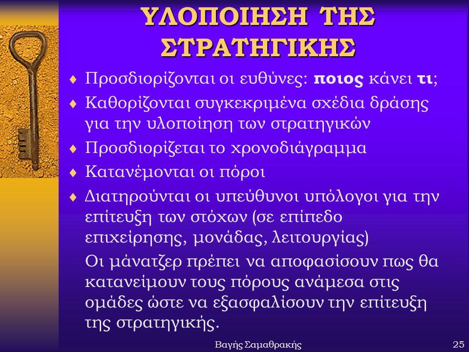Βαγής Σαμαθρακής25 ΥΛΟΠΟΙΗΣΗ ΤΗΣ ΣΤΡΑΤΗΓΙΚΗΣ  Προσδιορίζονται οι ευθύνες: ποιος κάνει τι ;  Καθορίζονται συγκεκριμένα σχέδια δράσης για την υλοποίησ