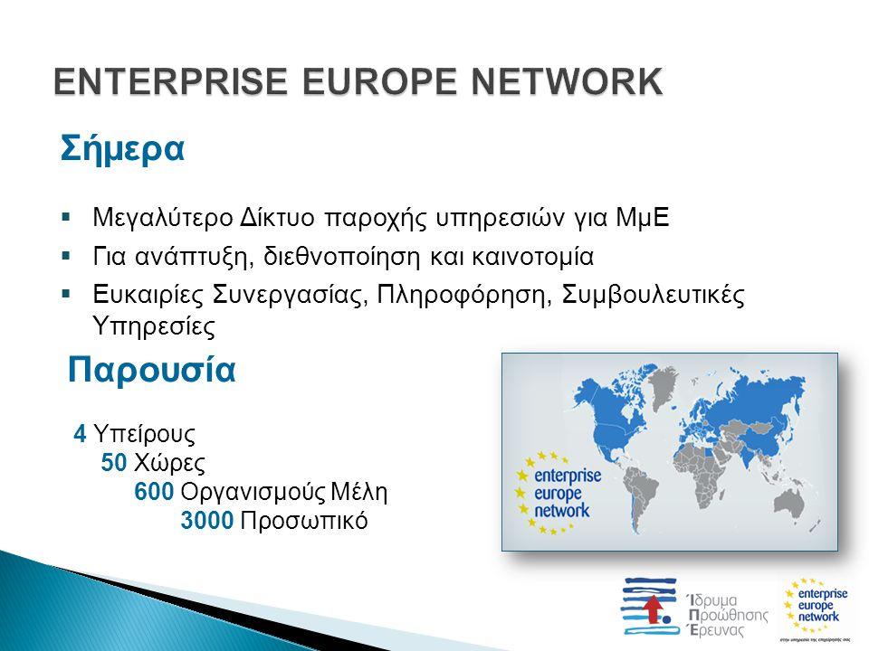 Σήμερα  Μεγαλύτερο Δίκτυο παροχής υπηρεσιών για ΜμΕ  Για ανάπτυξη, διεθνοποίηση και καινοτομία  Ευκαιρίες Συνεργασίας, Πληροφόρηση, Συμβουλευτικές Υπηρεσίες Παρουσία 4 Υπείρους 50 Χώρες 600 Οργανισμούς Μέλη 3000 Προσωπικό