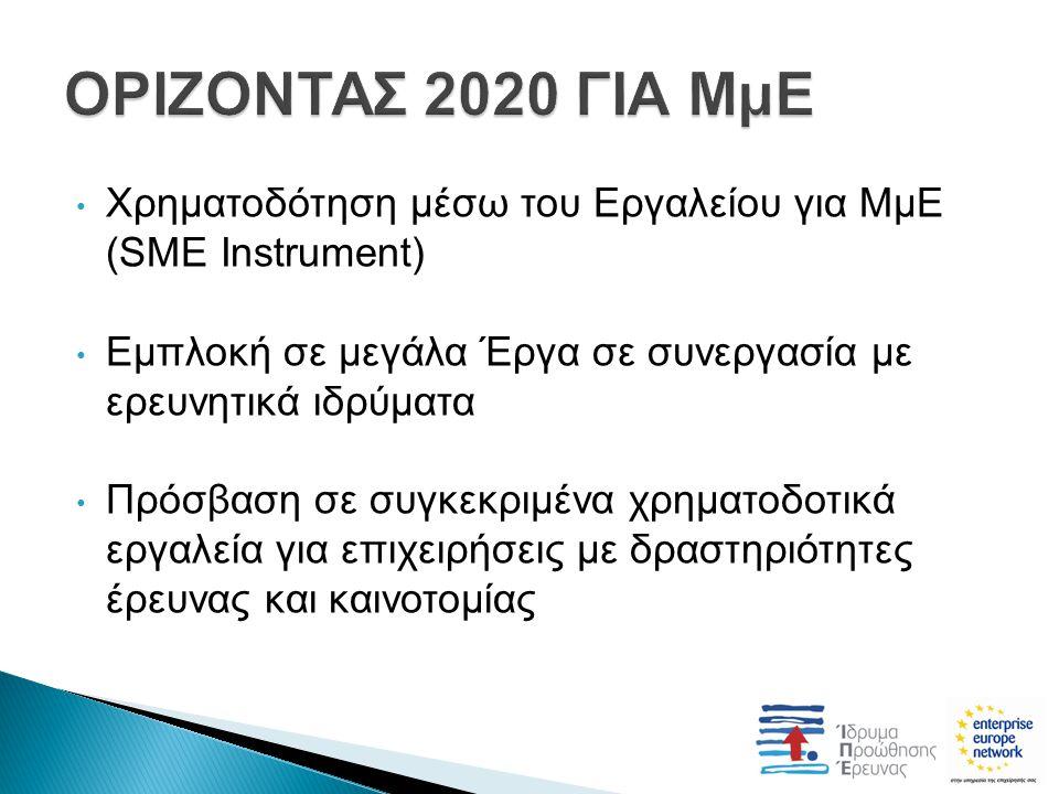 Χρηματοδότηση μέσω του Εργαλείου για ΜμΕ (SME Instrument) Εμπλοκή σε μεγάλα Έργα σε συνεργασία με ερευνητικά ιδρύματα Πρόσβαση σε συγκεκριμένα χρηματοδοτικά εργαλεία για επιχειρήσεις με δραστηριότητες έρευνας και καινοτομίας