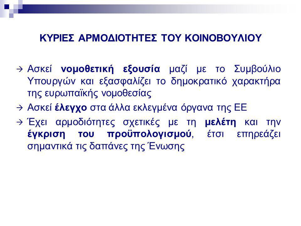 ΚΥΡΙΕΣ ΑΡΜΟΔΙΟΤΗΤΕΣ ΤΟΥ ΚΟΙΝΟΒΟΥΛΙΟΥ  Ασκεί νομοθετική εξουσία μαζί με το Συμβούλιο Υπουργών και εξασφαλίζει το δημοκρατικό χαρακτήρα της ευρωπαϊκής