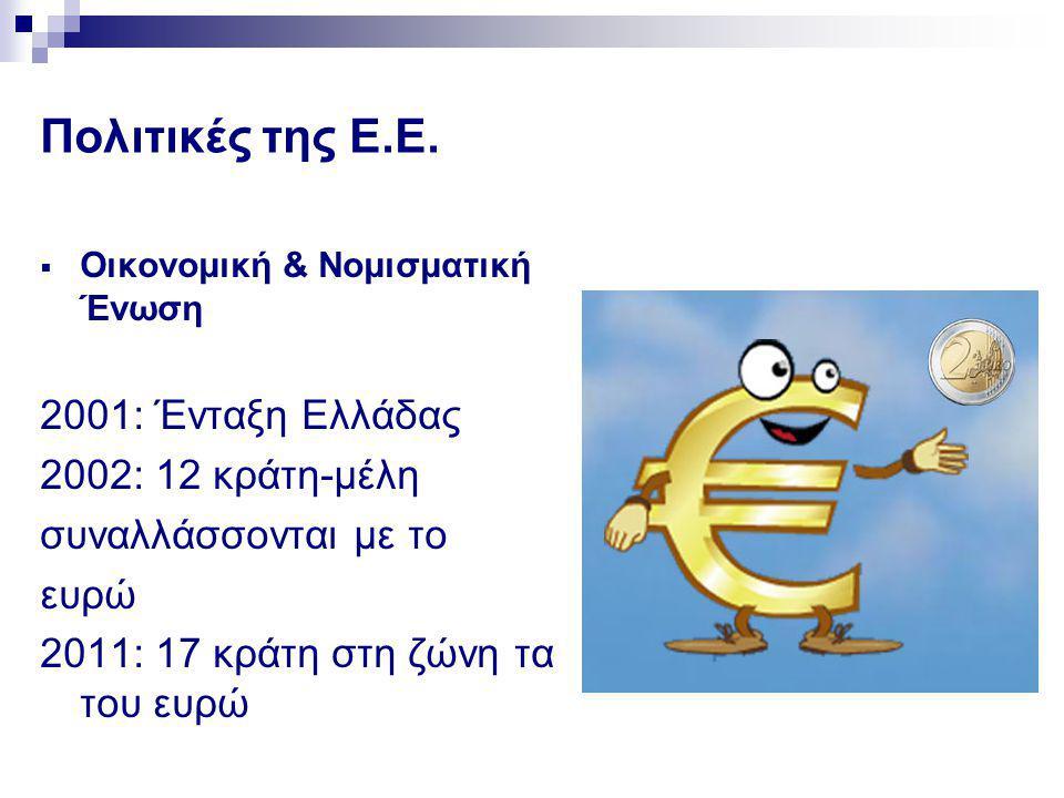 Πολιτικές της Ε.Ε.  Οικονομική & Νομισματική Ένωση 2001: Ένταξη Ελλάδας 2002: 12 κράτη-μέλη συναλλάσσονται με το ευρώ 2011: 17 κράτη στη ζώνη τα του