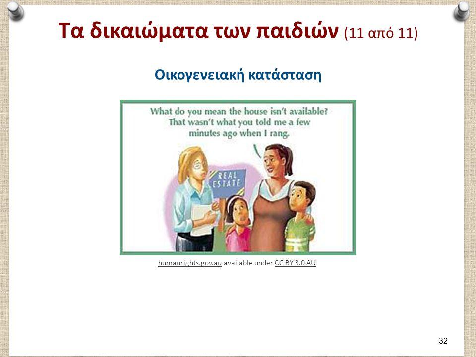 Τα δικαιώματα των παιδιών (11 από 11) Οικογενειακή κατάσταση humanrights.gov.auhumanrights.gov.au available under CC BY 3.0 AUCC BY 3.0 AU 32