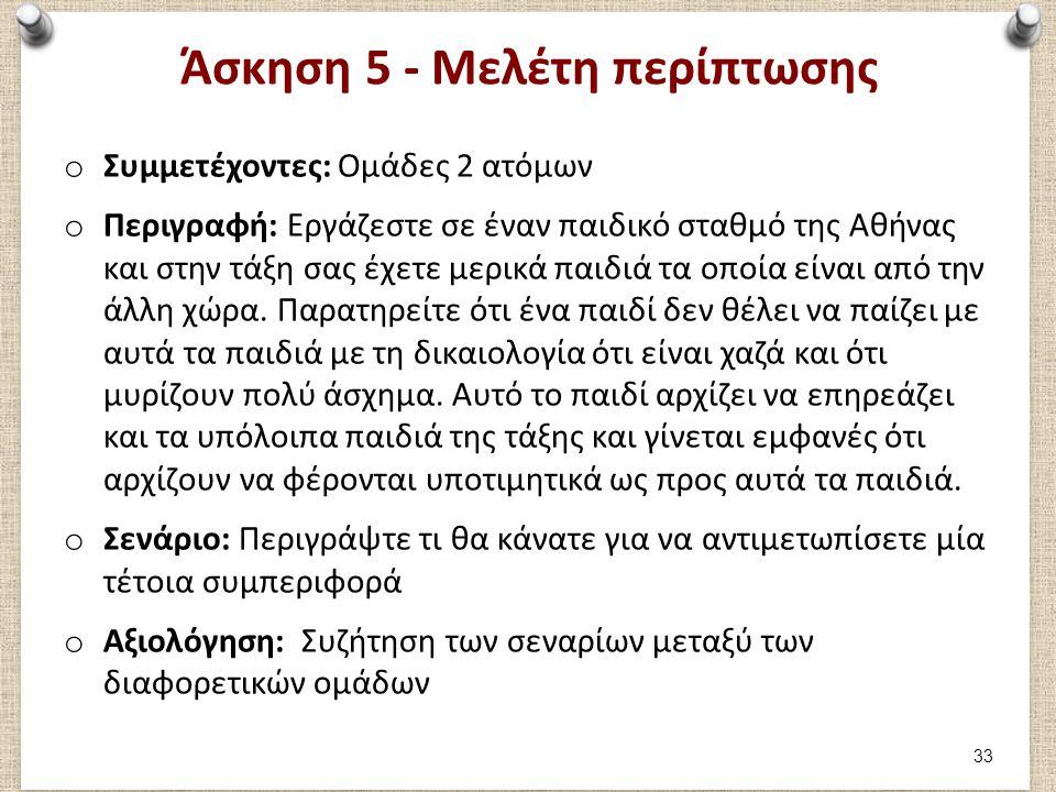 Άσκηση 5 - Μελέτη περίπτωσης o Συμμετέχοντες: Ομάδες 2 ατόμων o Περιγραφή: Εργάζεστε σε έναν παιδικό σταθμό της Αθήνας και στην τάξη σας έχετε μερικά παιδιά τα οποία είναι από την άλλη χώρα.
