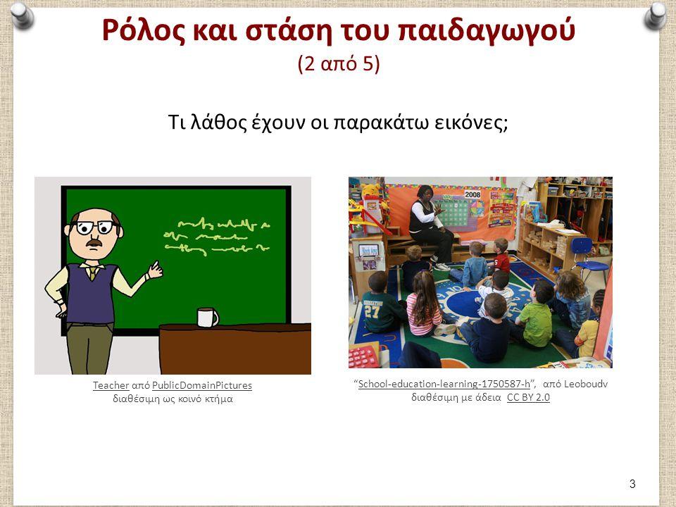 Ρόλος και στάση του παιδαγωγού (2 από 5) Τι λάθος έχουν οι παρακάτω εικόνες; School-education-learning-1750587-h , από Leoboudv διαθέσιμη με άδεια CC BY 2.0School-education-learning-1750587-hCC BY 2.0 TeacherTeacher από PublicDomainPictures διαθέσιμη ως κοινό κτήμαPublicDomainPictures 3