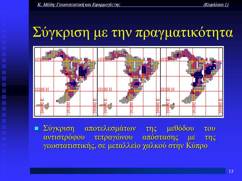 Κ. Μόδη: Γεωστατιστική και Εφαρμογές της (Κεφάλαιο 1) 13 Σύγκριση με την πραγματικότητα Σύγκριση αποτελεσμάτων της μεθόδου του αντιστρόφου τετραγώνου