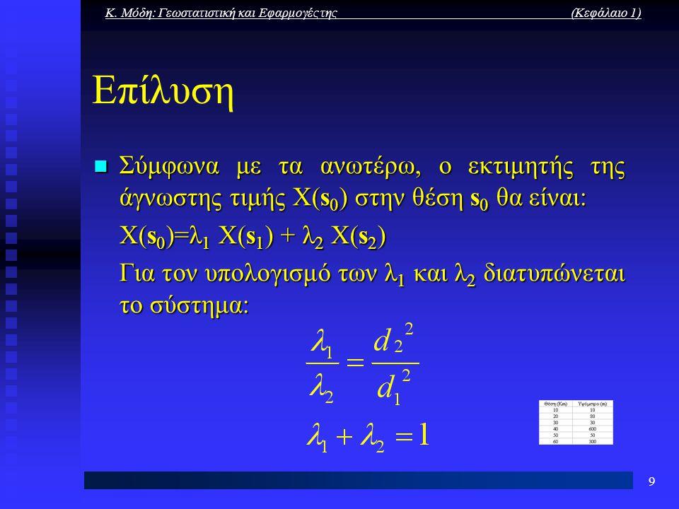 Κ. Μόδη: Γεωστατιστική και Εφαρμογές της (Κεφάλαιο 1) 9 Επίλυση Σύμφωνα με τα ανωτέρω, ο εκτιμητής της άγνωστης τιμής X(s 0 ) στην θέση s 0 θα είναι: